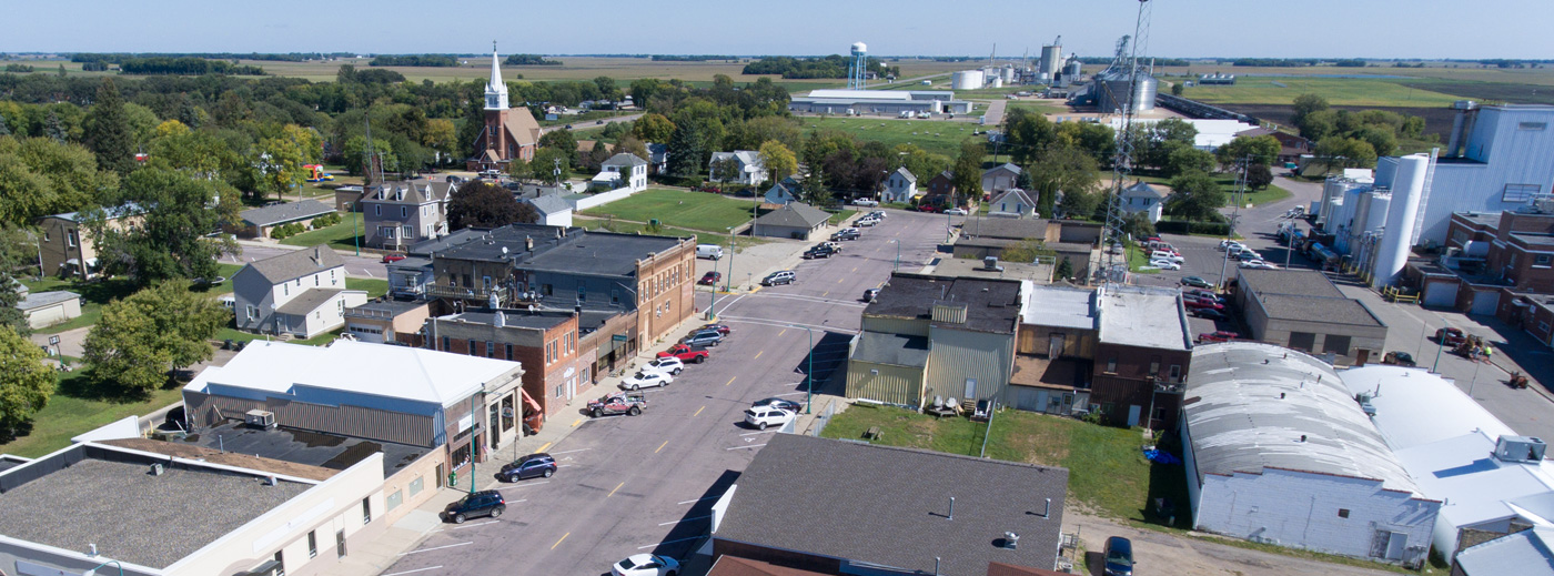 Aerial photo of downtown Winthrop, MN