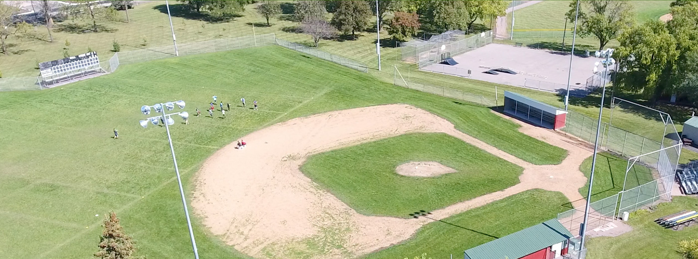Aerial photo of baseball diamond in Winthrop, MN